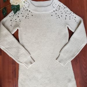 Mossimo Studded Oatmeal Color Sweater Small